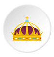 crown icon circle vector image vector image