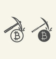 cryptocurrency mining line and glyph icon crypto vector image vector image