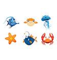 cute friendly sea creatures set colorful sea vector image