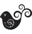 cute wall clock bird sticker vector image