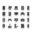 device black silhouette icons set vector image