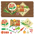 Dining table with vegetables vector image