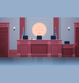 empty courtroom with judge workplace chairs and vector image vector image