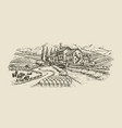 farm landscape village sketch agriculture hand vector image