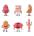 food meat characters with cartoon faces vector image vector image