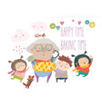 granny and her grandchildren with cake vector image
