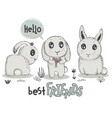hand drawn cute rabbits with words best vector image