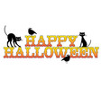 happy halloween typography with black cats and rav vector image vector image