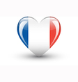 Heart-shaped icon with national flag of France vector image vector image