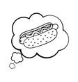 hot dog into a speech bubble black and white vector image vector image