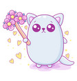 kawaii a cute fat cat holding a toy vector image