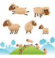 Landscape and set of sheep and Lambs vector image vector image