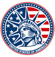liberty statue head independence day usa flag vector image