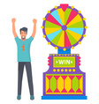 lucky person gambling fortune wheel circle game vector image vector image