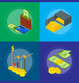 money banner card set isometric view vector image