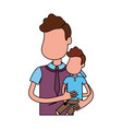 nice father carrying his son in the hands vector image vector image
