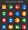 plants tools 16 flat icons vector image