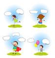 set children with speeach balloon vector image vector image
