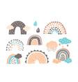 set funny rainbows in cute scandinavian vector image