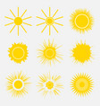 set of simple yellow orange sun vector image