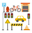 set of traffic transport sign taxi barrier light vector image