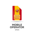spain mobile operator sim card with flag vector image vector image