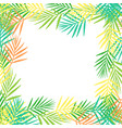 square frame of bright abstract tropical leaves in vector image