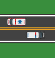 top view of driving ambulance and police autos vector image vector image
