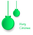 two green paper christmas decoration baubles vector image vector image