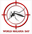 World malaria day sign with mosquito in focus vector image vector image