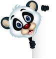cute panda cartoon posing with blank sign vector image
