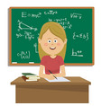 female teacher sitting at table in classroom vector image