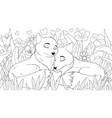 a couple wild foxes vector image