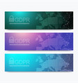 banners gdpr - general data protection regulation vector image vector image