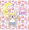 bashower cute bear half moon cartoon vector image vector image