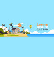 big summer villa house air balloon surf board palm vector image vector image
