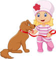 Cartoon girl with her dog isolated vector image vector image