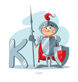 Cartoons Alphabet - Letter K with funny Knight vector image vector image