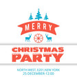 christmas party inviattion card vintage vector image