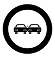 crashed cars icon black color in circle vector image