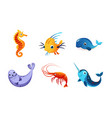 cute friendly sea creatures set colorful adorable vector image vector image