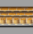 different kinds of bread display on shelf vector image