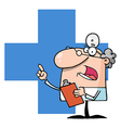 Doctor holding a clipboard over a blue cross vector | Price: 1 Credit (USD $1)