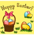 Easter egg basket greeting set vector image