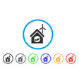 eco house building rounded icon vector image vector image