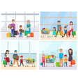 family in supermarket people with bags vector image