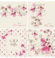 floral cards and seamless patterns vector image