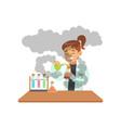 girl doing chemical experiment schoolgirl vector image