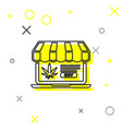 grey line laptop and medical marijuana or cannabis vector image vector image