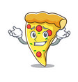 grinning pizza slice character cartoon vector image vector image